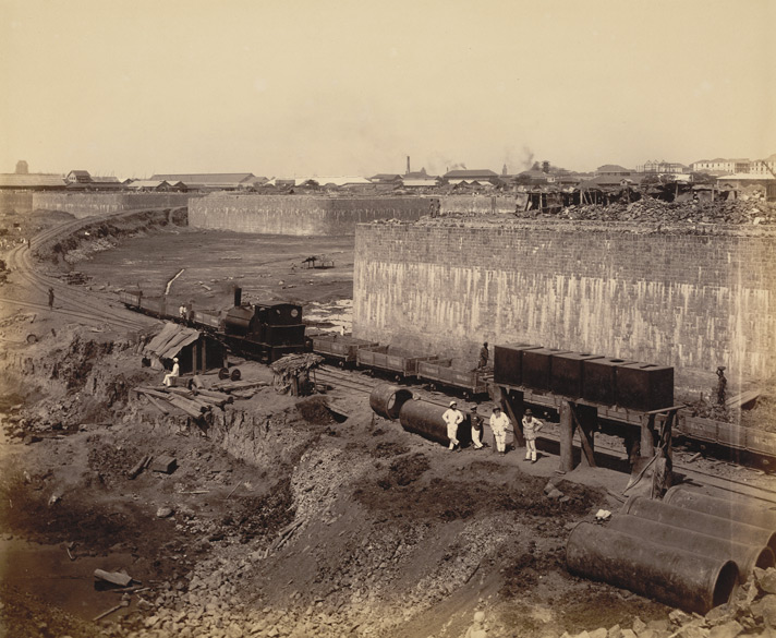 B. - View from N.E. corner looking S., forming with A [print 44], a complete panoramic view of works from N.E. [Victoria Dock construction, Bombay].