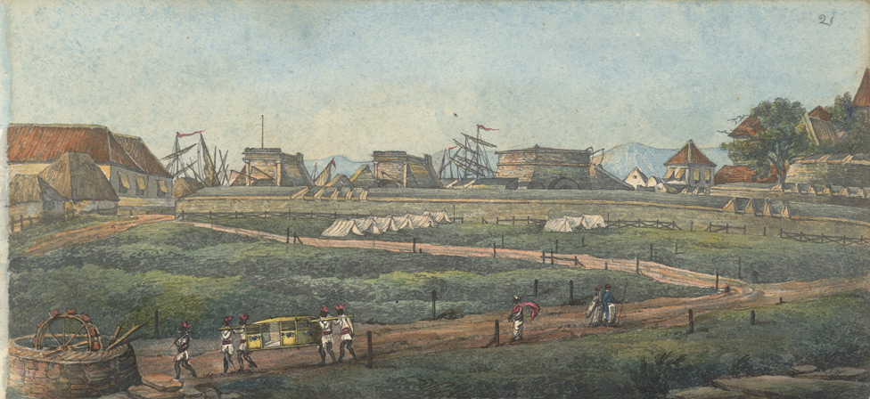 f.21   'The Bazar Gate and Part of the Town of Bombay taken from the Esplanade'.