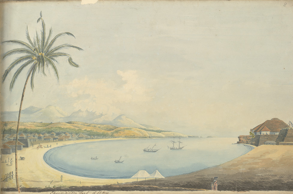 f.8   View of Cannanore Bay with fort on the right, Malabar district.  'Cannonore fort & Bay.'