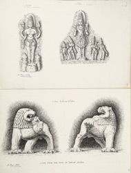 Ellora: Uma Devi and Surya from Lankesvara (top), Lions from the roof or mandapa of Kailasa (bottom)