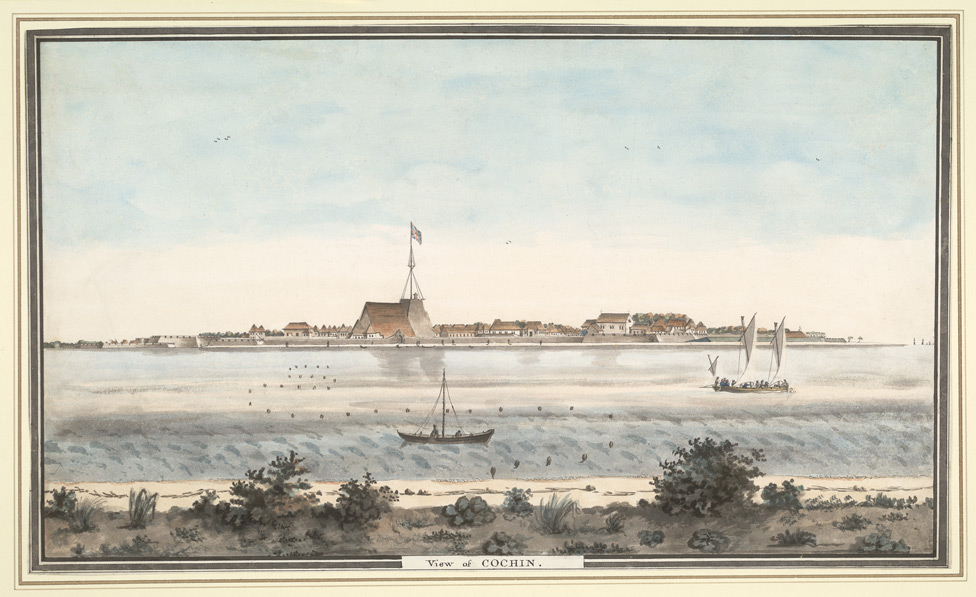 View of the fort of Cochin , from across the backwater, with the union flag flying from the warehouse, formerly the Portuguese cathedral of Santa Cruz