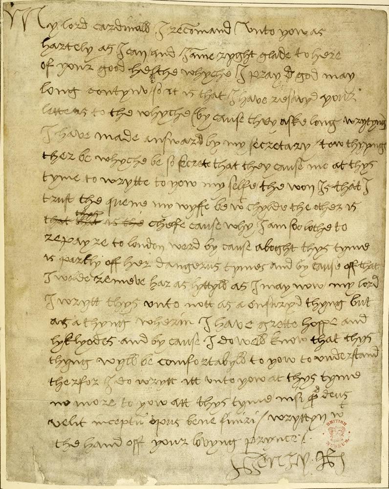 letter henry large jpg letter from henry viii to wolsey